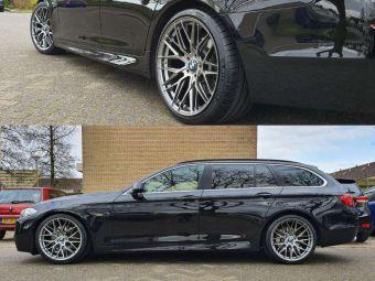 JR WHEELS JR 28 HYPER BLACK IN 20 INCH BREEDSET GEMONTEERD ONDER EEN BMW 5 SERIE